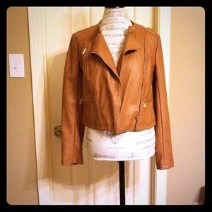 Ann Taylor faux leather camel moto jacket